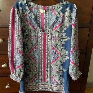 Navy and Magenta Print Tunic Top